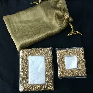 2 Gold Sparkles 5x3 and 3x3 photo pic frame sets